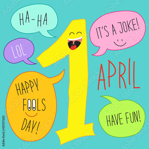 Cute April Fools Day Background As Smiling Cartoon Character Of