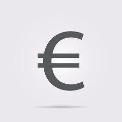 Flat vector icon. On a gray background with shadow. Euro.