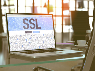 SSL - Secure Socket Layer - Concept Closeup on Landing Page of Laptop Screen in Modern Office Workplace. Toned Image with Selective Focus. 3D Render.