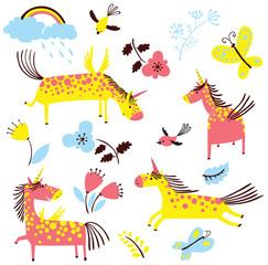Vector cartoon cute unicorns set