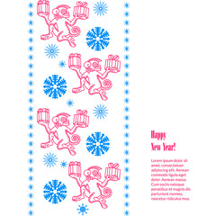 christmas greeting with snowflakes, monkeys with decorate border and text