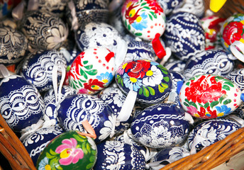 Hand painted beautiful and colorful easter eggs