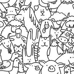 Vector seamless pattern with farm animals (line art livestock)