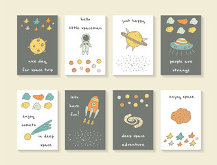 Cute hand drawn cosmic doodle cards