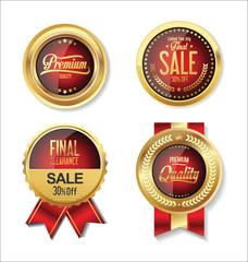Golden retro labels collection