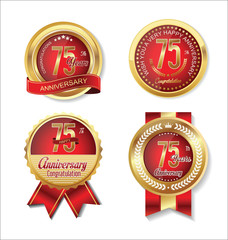 Anniversary golden badges collection 75 years