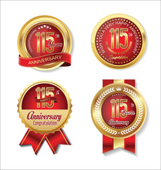 Anniversary golden badges collection 115 years
