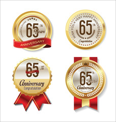 Anniversary golden badges collection 65 years