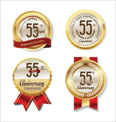 Anniversary golden badges collection 55 years