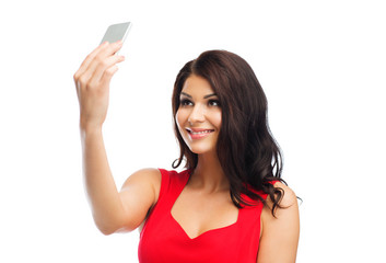 sexy woman taking selfie picture by smartphone