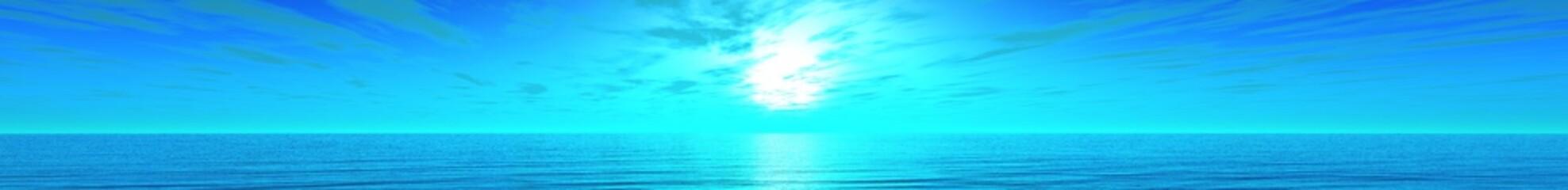 panorama of sea sunset, ocean sunrise, banner