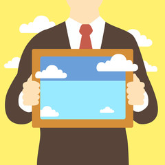 business man holding frame with clouds pictures