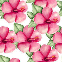 Pink flowers pattern. Watercolor hand drawn. Vector illustration
