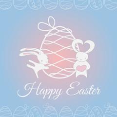 Easter white cute rabbit