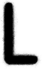 sprayed L font graffiti in black over white