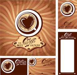 Template designs of menu and business cards for cofee house. Bac