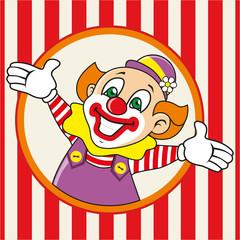 Happy clown meets guests. Vector illustration.