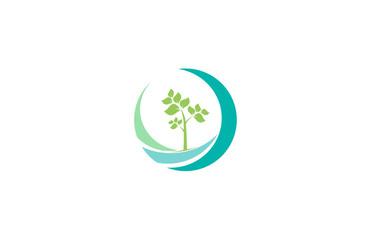 swirl tree landscape abstract logo