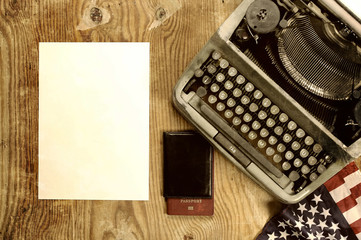 writer desktop with typewriter retro