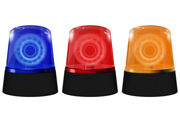 Police blue, orange and red siren. Flashing emergency lights