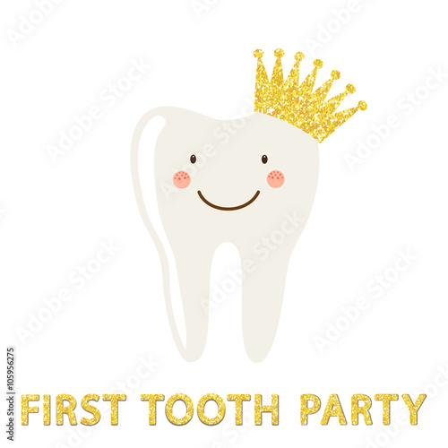 Cute first baby tooth party invitation card with smiling for Baby first tooth decoration