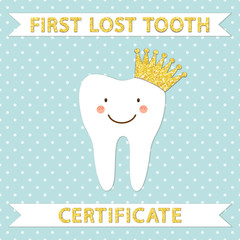 Cute smiling cartoon character of first lost tooth with golden glitter crown as certificate cover