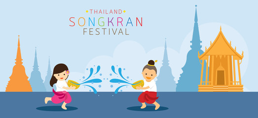 Songkran Festival, Kids Playing Water in Temple, Traditional Thai Clothing, Thailand Traditional New Year's Day