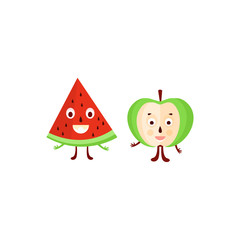 Humanized Apple And Watermelon Illustration