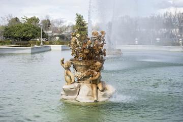 spring, fountain of the goddess ceres parterre in the garden of