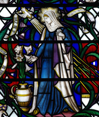Mary during the Annunciation (stained glass)