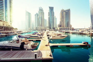 Fotomurales - Dubai Marina at sunset, United Arab Emirates