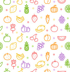 Fruits and Vegetables Background Pattern. Vector