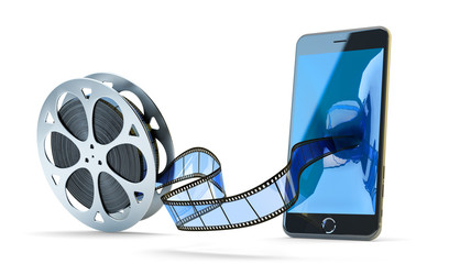 Online mobile video concept, movie and multimedia content storage, blue filmstrip from film reel moving to modern black phone isolated on white background
