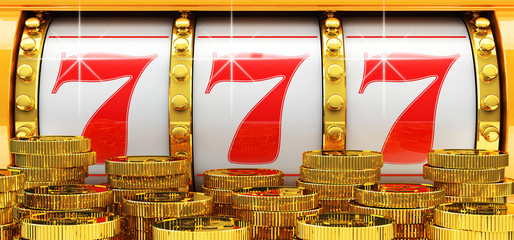 Jackpot, gambling gain, luck and success concept, closeup view of casino slot machine with winning event and gold coins in foreground