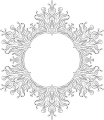 Unusual hexagon rich decorated floral decorative frame with empt