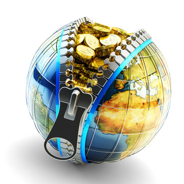 Electronic money, digital cash, online wallet and internet business concept, Earth globe with zipper full of gold coins isolated on white