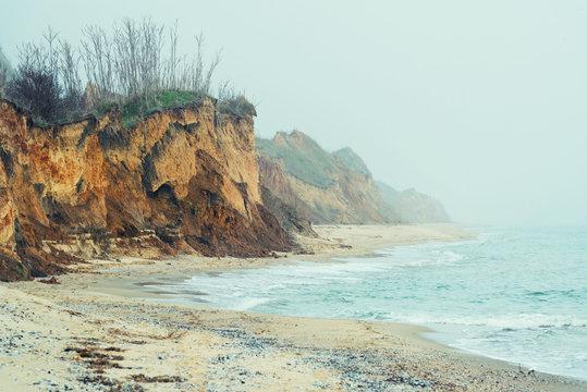 Foggy morning on the sea coast