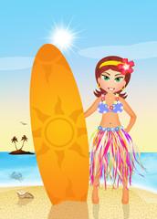 Hawaiian girl in summer