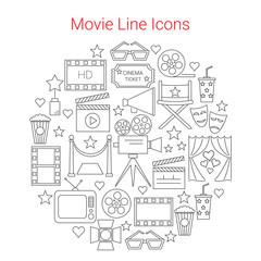 Movie Vector Line Icons set Circular Shaped. Cinema symbols. Movie camera, filmstrip, clapperboard, popcorn.