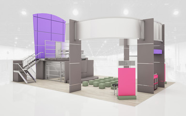 Exhibition Stand in brown and violet  colors