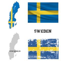 Карта и флаг Швеции в старинном и современном стиле.
