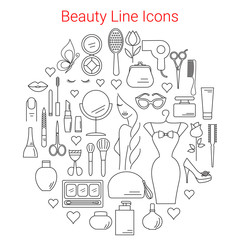 Beauty, Cosmetic and Makeup Vector Line Icons Set Circular Shaped . Beauty logo design elements. Symbols and icons for fashion, beauty salon, spa, hairdressers or wellness centers. Women accessories