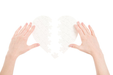 puzzle heart isolated on a white background
