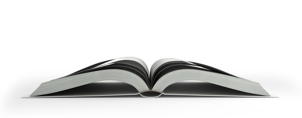Open white book isolated on white background