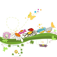 Colorful spring time vector background