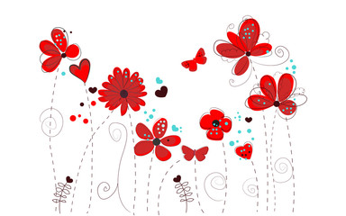 Spring time red doodle flowers vector background