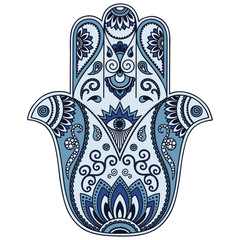Color vector hamsa hand drawn symbol.