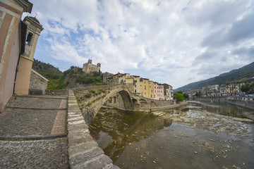Medieval street view of Dolceacqua in the Italian region Liguria.
