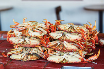 Fresh crabs in one of seafood restaurants at Fishermen wharf in San Francisco