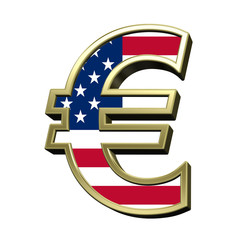 Euro sign from american flag alphabet set isolated over white. Computer generated 3D photo rendering.